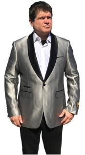 Mens Gray One Button Satin Shawl
