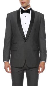 Mens Reno 1-Button Shawl Slim Fit Tuxedo Grey