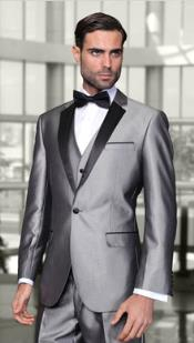 Mens Two Toned Lapel Caesar 1-Button Notch Modern Solid Tuxedo Grey