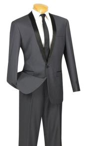 Mens Two Toned Lapel Sleek 1-Button Shawl Plain Front Tuxedo Grey