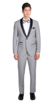 Mens 1 Button Light Gray Slim Fit  With Black Shawl Lapel