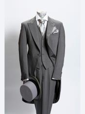 Mens 1 Button Light Grey Prince Of Wales Light Weight Wool Morning