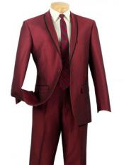 One Button Slim Fit Tuxedo Shawl Satin Trim Lapel Black and Burgundy Maroon Suit