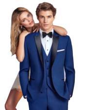 Mens Indigo Blue - Saphire - Cobalt Blue Suit Black Satin Peak