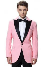 Mens Black Lapel Tuxedos Pink Jacket with Black Pant One Button Elegant