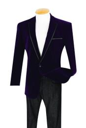 1 Button Purple Velour Dinner Jacket Sport coat With Trim Fashion