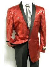 1 Button Red Sequin Entertainer Jacket Red