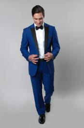 Mens 1 Button Royal Blue Tuxedo Black Lapeled Dress Suits for Men
