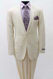 Mens 1 Single Button Suit Peak Lapel Slim Fitted Cotton Light Weight