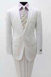 Slim Fitted Light Weight Mens One Single Button White Peak Lapel