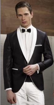 Button Black and White Lapel Shawl Lapel Tuxedo Dinner Jacket Blazer