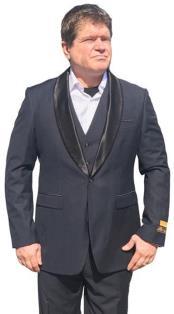 Alberto Nardoni Mens Vested 1 Button Shawl Tuxedo in Navy Blue $199