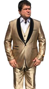 Alberto Nardoni Mens Sharkskin Vested 1 Button Shawl Tuxedo in Shiny Gold