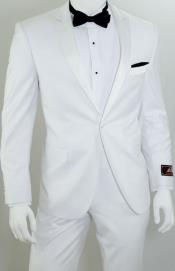 Single Breasted 1-Button Slim Tuxedo - All White Suit