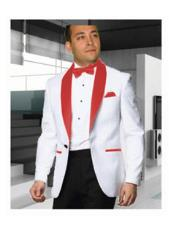 Mens 1 Button White Tuxedo with a Red Shawl Lapel Dinner Jacket