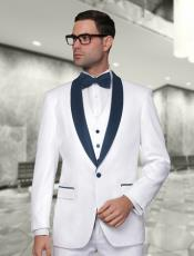 White And Navy Blue Lapel Vested Suit 3PC 3 Pieces Shawl Collar
