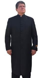 Mens Black Besom Ticket Pocket Mandarin Collar Jacket - Mens Preaching Jacket