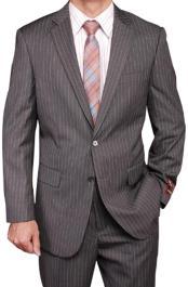 Mens Grey Stripe ~ Pinstripe 2-button 2 Piece Suits - Two piece