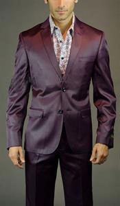 2 button burgundy suit