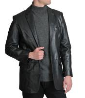 Excelled Notched lapel Lamb Leather Two-Button Blazer Black