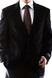 Two Button Slim Fit Black 100% Cotton Corduroy Sport Coat
