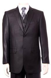 Mens Black Ultra fine Super fine poly blend Vested Suit