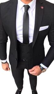 Fit 2 button Black Suit With Double Breasted Vest White Shirt