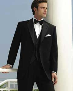Mens 2-Button Peak Tuxedo (Slim Fit) - Black Peak Lapel Tuxedo Suit