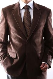 Two Button Brown 100% Cotton Corduroy Sport Coat
