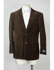 2 Button Velvet ~ Notch Lapel Brown Mens blazer