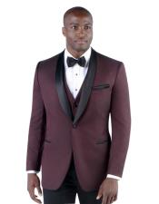 Mens 2 Button Slim Fit Burgundy ~ Wine ~ Shawl Lapel