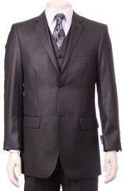 Charcoal  Regular Fit Vested Suit
