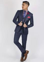 Button Slim Fit Sharkskin