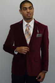 Mens Single Breasted Notch Lapel Sport Coat Two Button Formal or Clubbing Sport Coat Burgundy ~ Wine