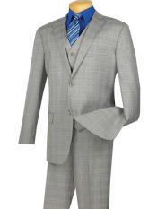 Unique Brand Mens Gray Extra Long 2 Button Glen Plaid Windowpane Notch Lapel Executive Suit