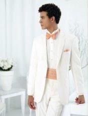 Modern Essentials 2-Button Notch Wedding / Prom Formalwear Ivory Tuxedo of Big