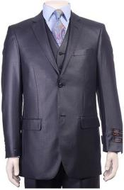 Mens Dark Navy 3 Pieces Modern Sheen Sharkskin Design Suit