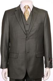 Button Sheen Sharkskin Design ~ Super fine poly blend OliveVested Suit