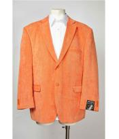 Button Notch Lapel Orange Mens Blazer Graphic Printed Single Breasted