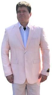 Nardoni Orange Seersucker Sear sucker suit 2 button Flat Front Pants
