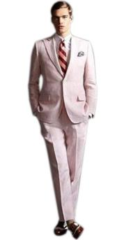 Mens high fashion Two Buttons Pink suit