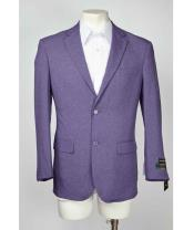 Breasted Two Button Mens Purple Blazer