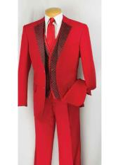 2 Button SuitTuxedo Vested 3 Piece Pleated Pants Notch Collar Red