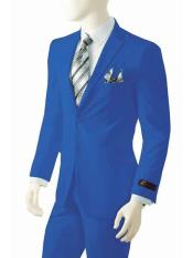 2 Button Notch Lapel Single Breasted Bright Royal Blue Dress Suits