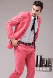 Mens Coral Color 2 Button Slim Fit Suit For Man  Salmon