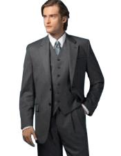 Quality 2 Button Solid Charcoal Gray Vested 2 Piece Suits For