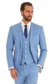 Sky Baby Blue Ocean Single Breated 2 Button Suit