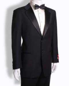 Mantoni 2 Button Tuxedo Notched Lapel Wool Dinner Suit Jet Black