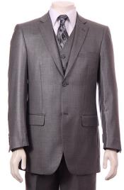 Mens Gray 2 Button Vested Suit