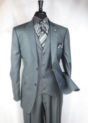 Falcone Single Breasted 2 Button Suit Jacket with Peaked Lapel Grey